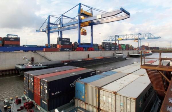 Duisburg port in the German state of North Rhine Westphalia
