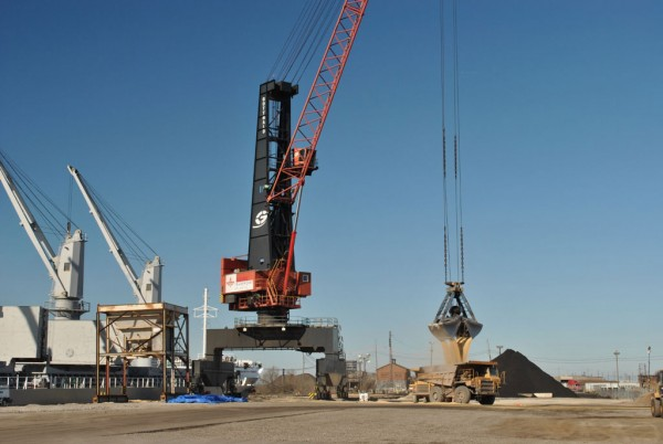Grain is discharged at a Tradepoint Atlantic terminal on a Maryland site that was the longtime home of steel mill operations.