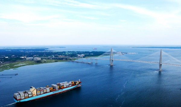 A Maersk vessel sails through Charleston Harbor after calling at the South Carolina Port Authority's Wando Welch Terminal. (Photo courtesy of SCPA)