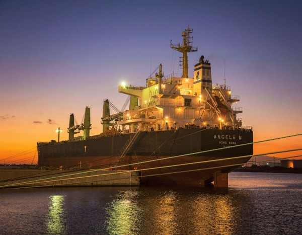 Breakbulk carrier, Angele, docked at the Port of Brownsville