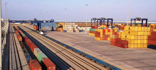 Intermodal terminal at Port of Barcelona, Spain