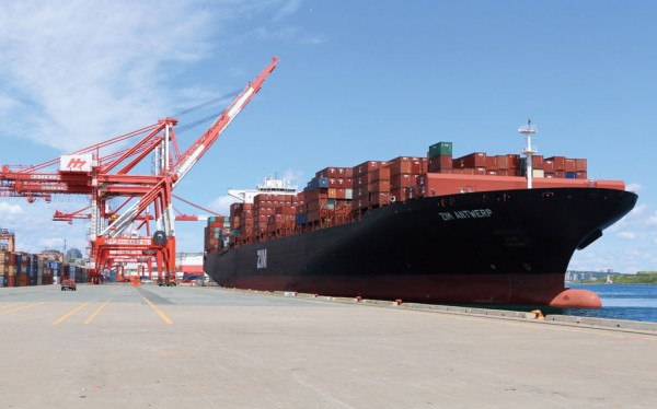 The Zim Antwerp is the biggest containership to call at the Port of Halifax. (Photo by Steve Farmer)
