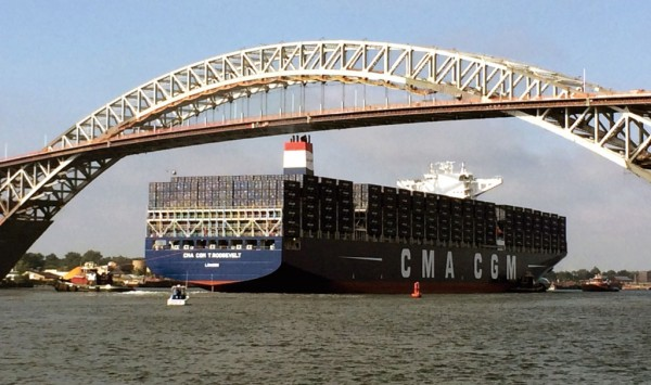 CMA CGM's T. Roosevelt, with a capacity of 14,414 twenty-foot-equivalent units, becomes the largest cargo vessel to call the Port of New York and New Jersey, passing under the raised Bayonne Bridge roadbed Sept. 7 on its way to the Elizabeth-Port Authority Marine Terminal in New Jersey.