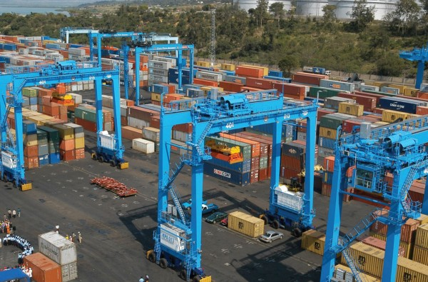 Container yard at the Port of Mombasa, Kenya