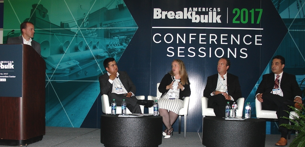 Taking part in a Mexico-centered panel discussion are, from left, Brandon Strange, assistant manager of logistics and transportation for Mitsubishi Hitachi Power Systems Americas; Raul Cuevas, commercial manager of Transportes Muciño; Gabriela Jonasson, senior projects logistics manager for Latin America at Siemens Gamesa Renewable Energy; Jurgen Hess, chief executive officer of IPA Steel Terminal; and Armando Lee, operations manager for ICI Proyectos and BASE Logistika. (Photo by Paul Scott Abbott, AJOT)