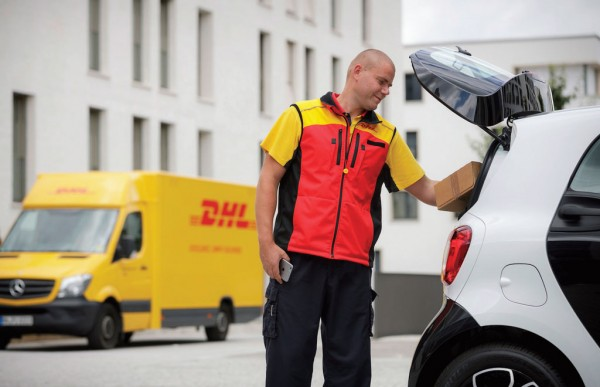 In Germany, DHL Express is pioneering consumer deliveries to automobiles. The company ascertains the location of the vehicle and the DHL driver receives a one-time code that allows him to pop the trunk and place the delivery inside.
