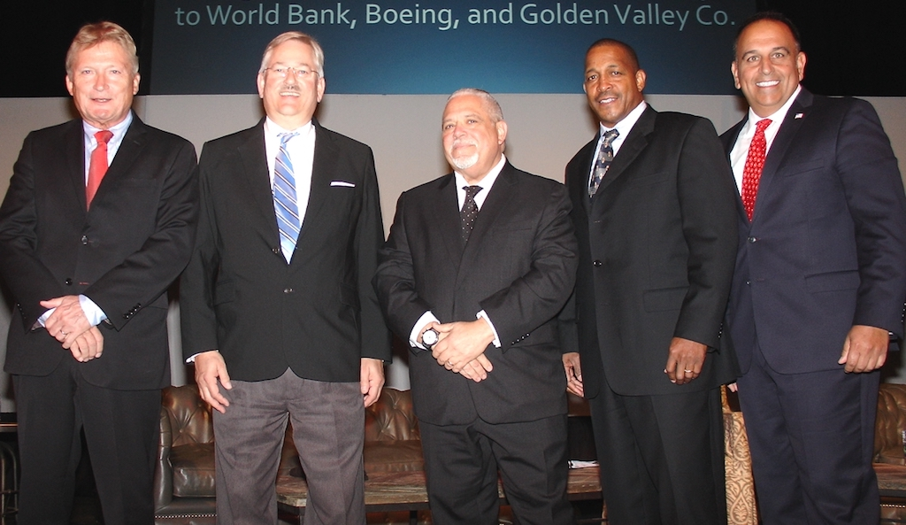 Shipper and carrier roundtable participants, from left, Wolfgang Freese, president of Hapag-Lloyd Americas; Klaus Schnede, manager of North America marine at Eastman Chemical Co.; Allen Clifford, executive vice president of Mediterranean Shipping Co.; Marlon B. Jones, manager of international distribution at International Paper Co.; Mario Giannobile, senior director of North America sales for Maersk Line. (Photo by Paul Scott Abbott, AJOT)