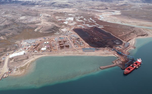 Aerial view of the massive Baffinland mining and shipping complex in the Canadian Arctic.