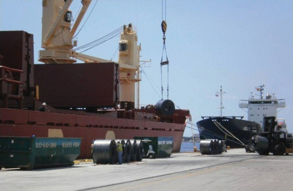 Steel coils being discharged from a vessel at the Port of Panama City, FL