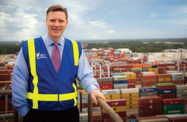 Griff Lynch, posing at the fast-growing Port of Savannah, has plenty about which to be enthusiastic midway through his second year as executive director of the Georgia Ports Authority.