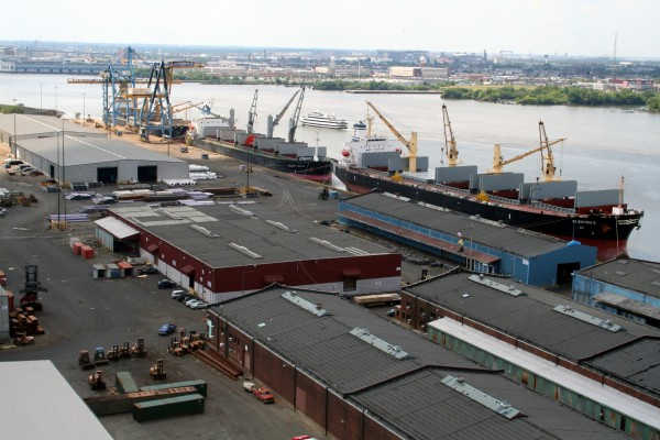 On the Camden, New Jersey, waterfront of the Delaware River, South Jersey Port Corp.'s Joseph A. Balzano Marine Terminal is a center for imports of breakbulk and dry bulk cargos.