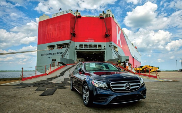 A Mercedes car rolls off a ship at the Georgia Ports Authority's Port of Brunswick, where auto-processing capacity has been boosted by 50 percent over the past year. (Photo courtesy of Georgia Ports Authority/Stephen B. Morton)