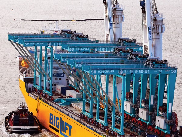 The first six of 86 rail-mounted gantry cranes destined for delivery to container terminals at The Port of Virginia come into port in February.
