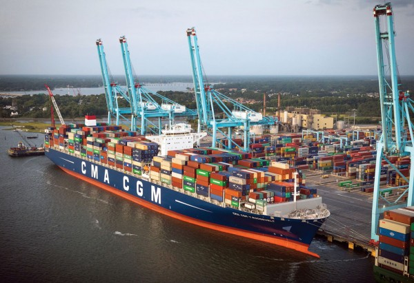 With its August call at Virginia International Gateway terminal, CMA CGM's 14,400-TEU-capacity Theodore Roosevelt is the largest containership to be worked at a US East Coast port.