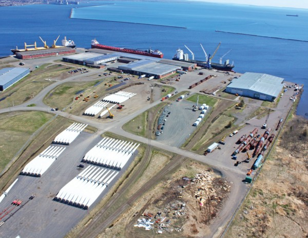 Aerial view of Thunder Bay's Keefer general cargo terminal and large laydown area for project components.
