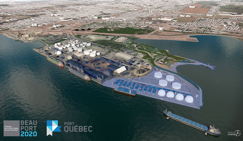 Artist rendering of ambitious container terminal project of Port of Quebec.