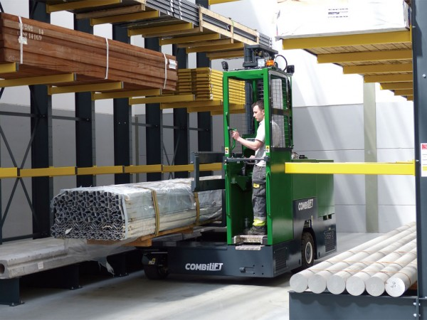 "Among its diversified product line, Combilift manufactures what are called ""long goods"" and ""long load"" handling forklifts, designed to move such products as steel bars, pipes and lumber."