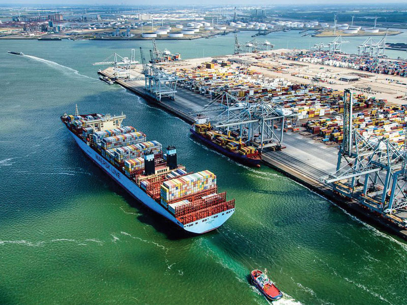 The Maersk enters into the Port of Rotterdam.