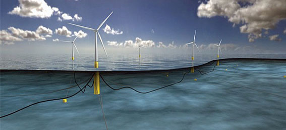 Artist rendering of a floating wind farm off the coast of Scotland
