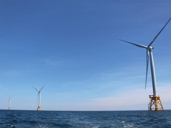 Block Island wind farm of the coast of Rhode Island