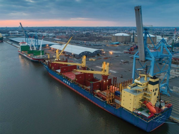 Atlantic RoRo Carriers is the latest addition to carriers calling at PhilaPort's Tioga Marine Terminal, which is a hub for movement of forest products and other cargos. (Aerial photo by Old Skillz Graphics)