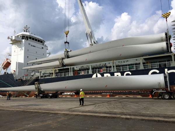 Indicative of project cargo activity at Delaware's Port of Wilmington, 165-foot-long wind turbine blades imported from China are offloaded from a BBC Chartering vessel.