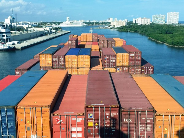 Broward County's expanding Port Everglades continues to set containerized cargo records. (Photo by Capt. Sam Stephenson, Port Everglades Pilots Association)