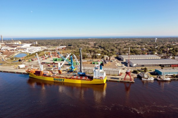 With January arrival of a Liebherr mobile harbor crane, Northeast Florida's Port of Fernandina is positioning for further cargo gains.