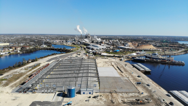 New warehousing is under construction at Port Panama City's East Terminal, where a bulkhead and berth undertaking also is advancing.