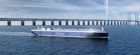Artist rendering of an autonomous ship.