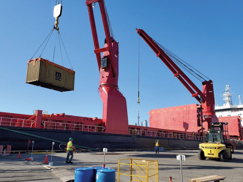 Containers being unloaded by Logistec Stevedoring from the Claude A. Desgagnés geared vessel at the Port of Toronto. (Photo credit: Port of Toronto)