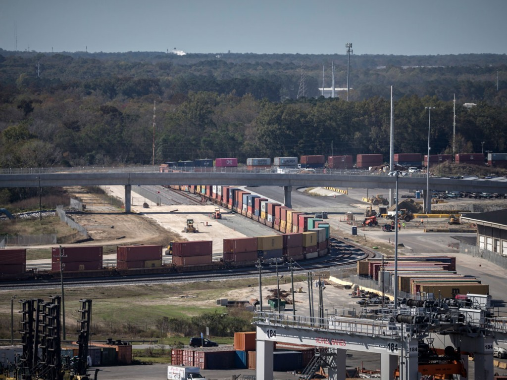 On Nov. 30, the Mason Mega Rail Terminal at the Port of Savannah sees its first train departure, ushering in a new era of inland intermodal connectivity for the nation's third-busiest containerized cargo gateway. (Photo credit: GPA/Stephen Morton)