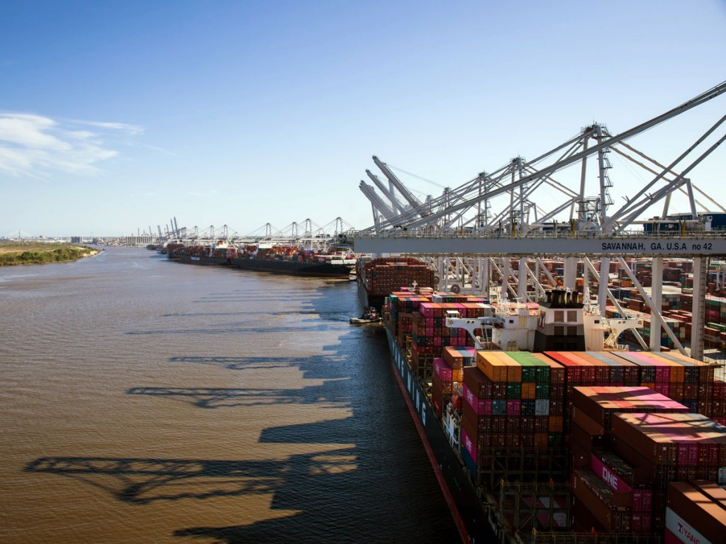 Eight containerships berth simultaneously at the Port of Savannah's bustling Garden City Terminal, which, at 1,200 acres, is the largest single-terminal container facility of its kind in North America. (Photo credit: GPA/Ashlee Maddy)