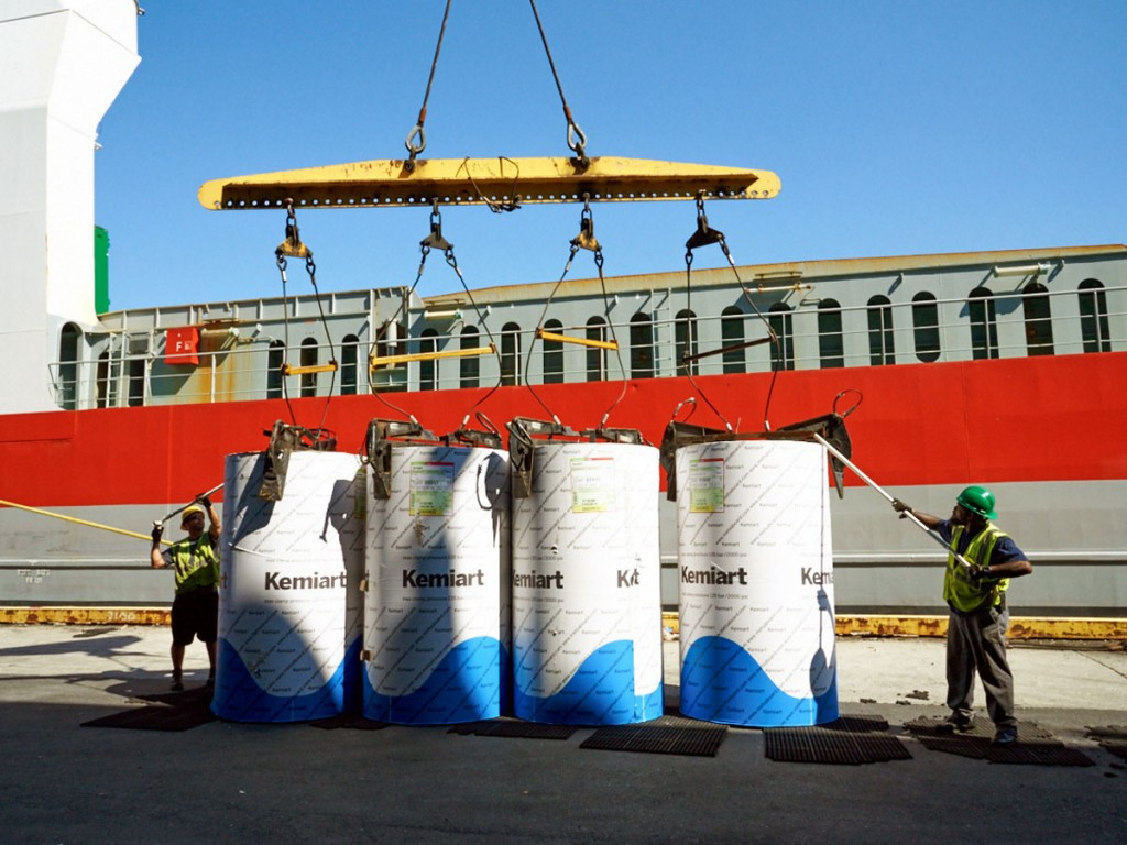 At PhilaPort's Piers 78 & 80, coated paper imported from Finland by MetsaBoard is offloaded from a Wagenborg vessel, indicative of the port's significant role in movement of forest products.