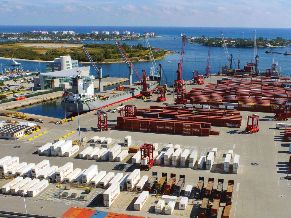 Tropical Shipping, the Port of Palm Beach's largest tenant, has augmented its footprint, adding a 3-acre yard for refrigerated containers.