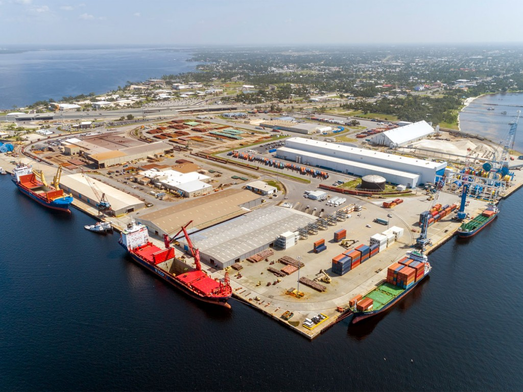 Port Panama City's West Terminal, awaiting a new mobile harbor crane, is home to breakbulk and containerized cargo shipping operations.