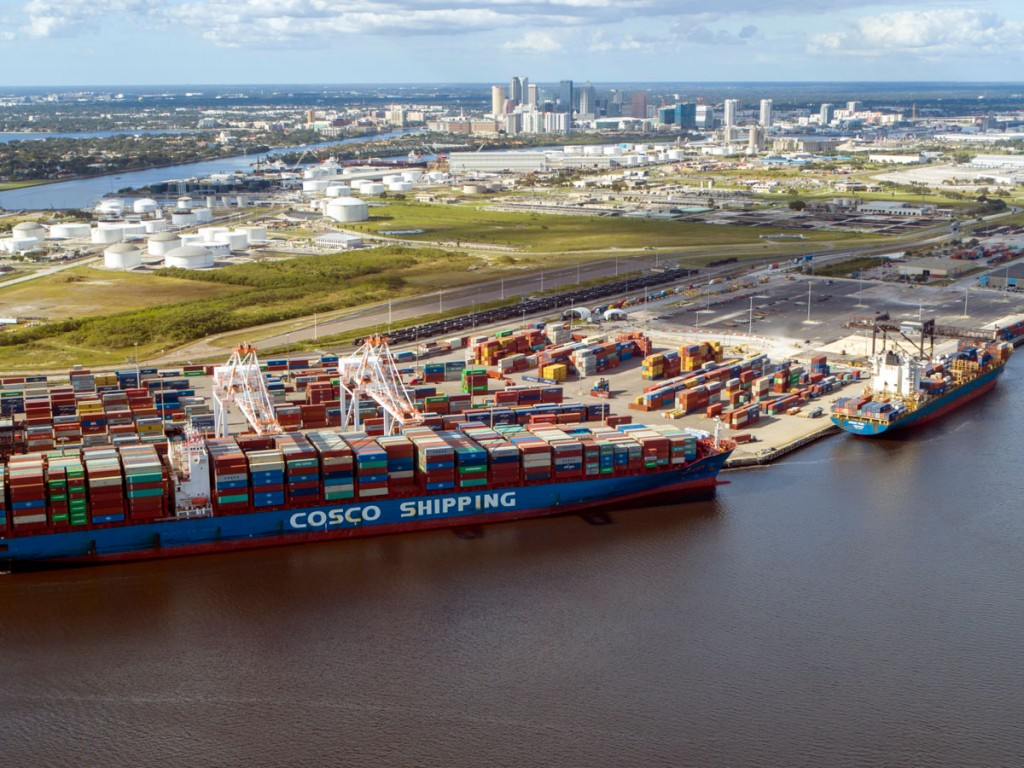 Trans-Pacific services, such as those of COSCO Shipping, are joining cross-Gulf offerings in adding to Port Tampa Bay container volumes.