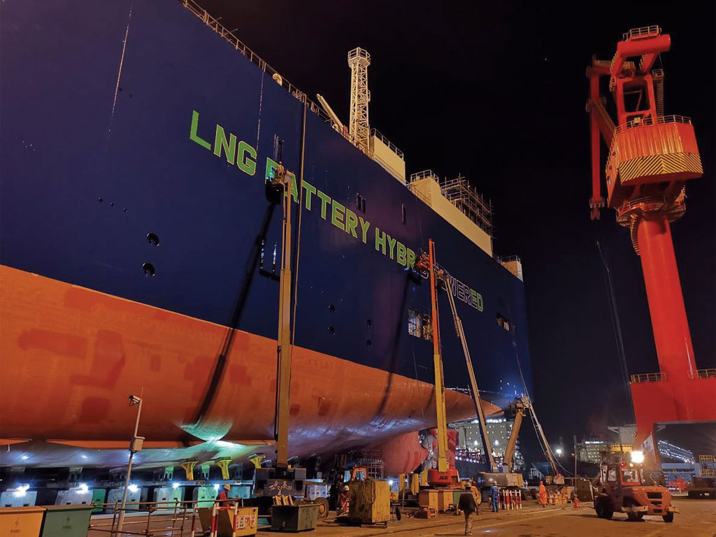 The first of three LNG battery hybrid PCTCs commissioned by United European Car Carriers (UECC) was launched in an official ceremony April 12th at the Jiangnan Shipyard in Shanghai.