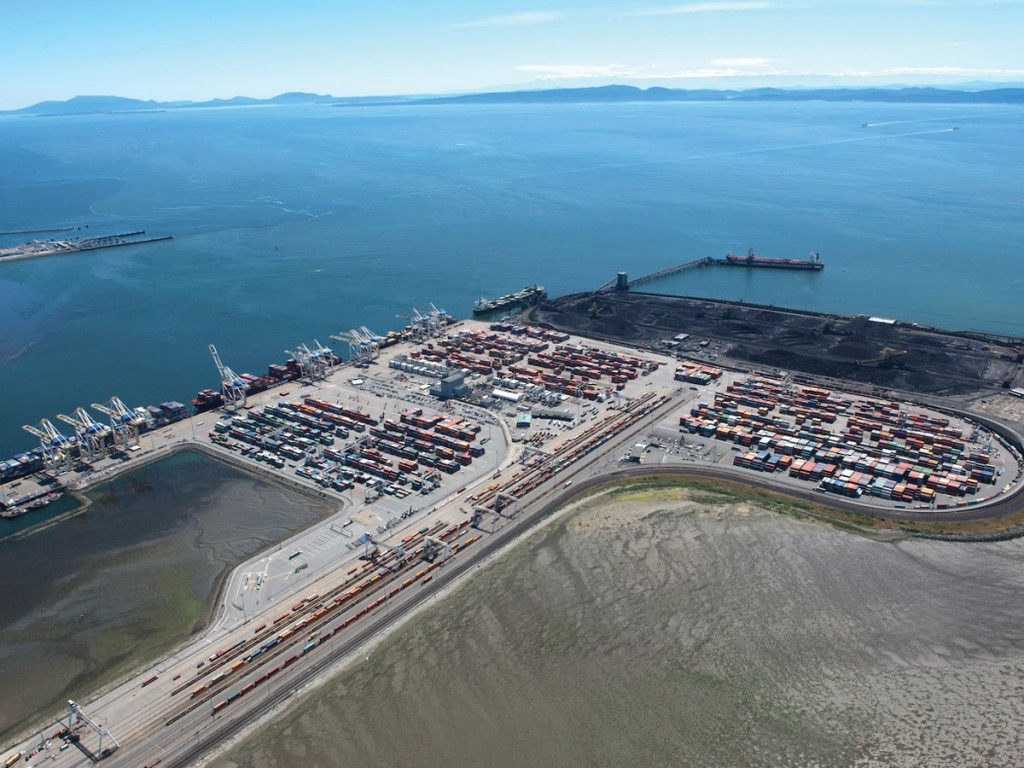 Robert's Bank area of the Port of Vancouver where a major project is encountering delays.