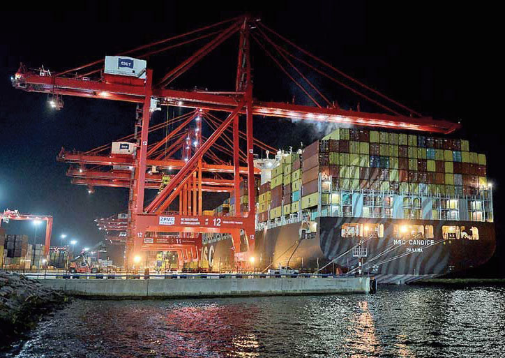 45% of Colombo's transshipment volumes originated from or destined to an Adani Port's terminal in India
