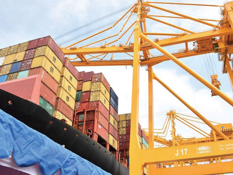 MSC vessel being stacked with containers at Colombo Port, Sri Lanka