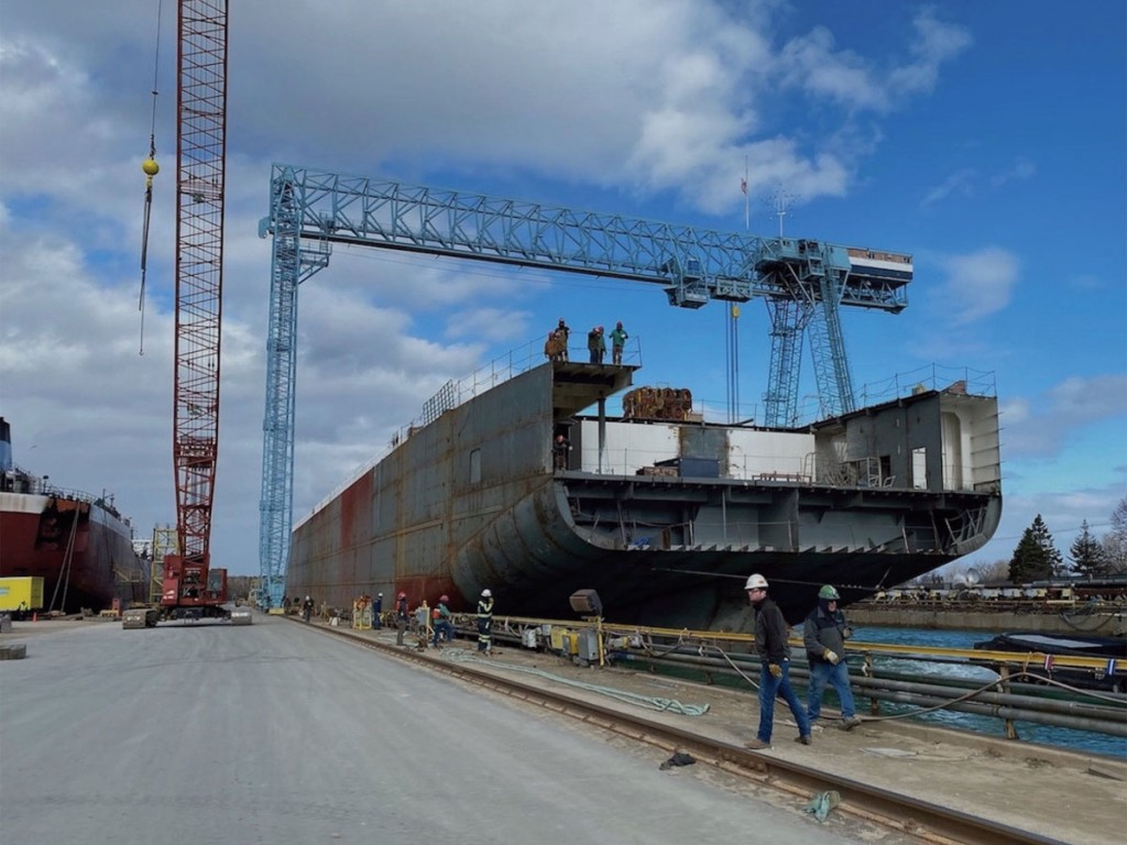 Partly completed Mark W. Barker being floated back to drydock earlier this spring. (Photo by Interlake Steamship Company.)