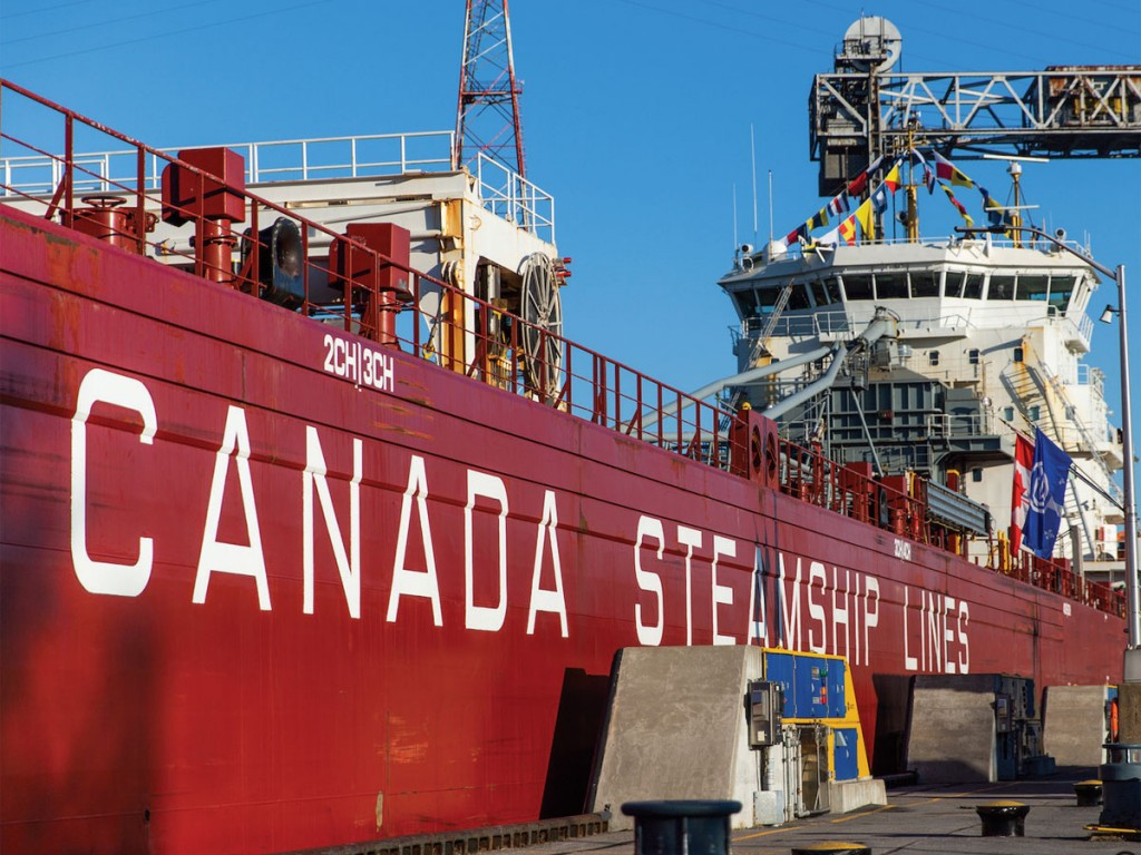 The CSL Group's Baie St. Paul was the first vessel passing through the St. Lambert Lock at the (UPBEAT – continued on page 7) start of the 63rd Seaway season. (Photo by Alexanne Brisson)