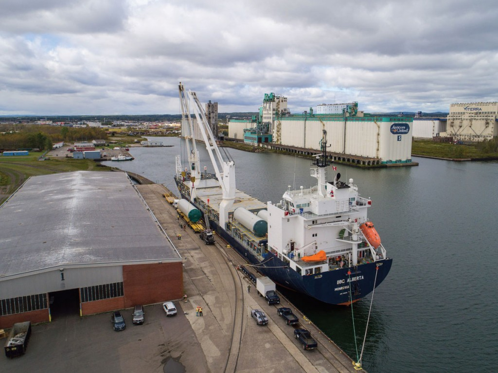 BBC Alberta unloading wind energy components at Keefer Terminal of Port of Thunder Bay