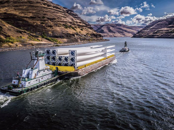 Barging the wind components via the Columbia River considerably reduced transportation costs.