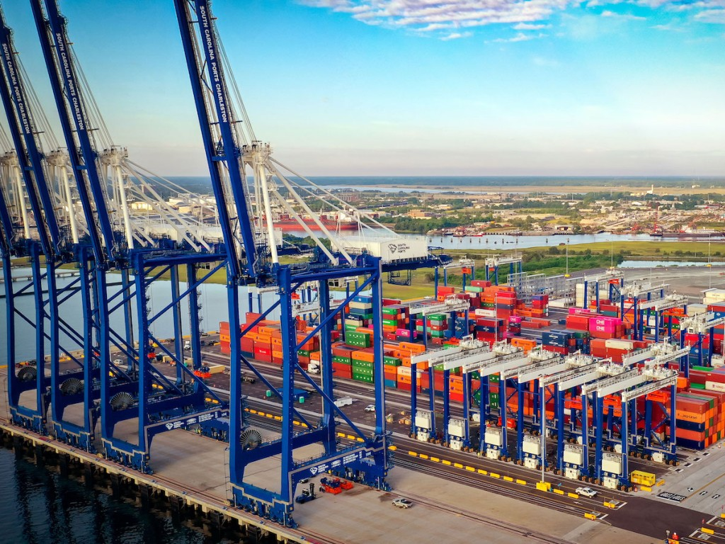 The South Carolina Ports Authority's Hugh K. Leatherman Terminal is the first U.S. greenfield containerport facility to open in more than a decade. (Photo credit: Walter Lagrenne, South Carolina Ports Authority)