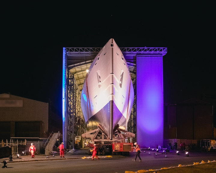 the launch of the first of three Multi Mission Inshore Patrol Vessels