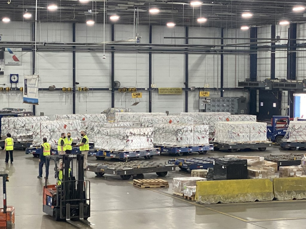 Pallets containing 1.5 million doses of the COVID-19 vaccine wait at American's Chicago O'Hare (ORD) Cargo facility to be loaded onto the flight to Guatemala City (GUA).