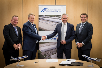 (L to R) Steven Verhasselt, VP business development at Liege Airport, - Sergey Lazarev, General Director, AirBridgeCargo Airlines, Luc Partoune, CEO of Liege Airport, and Andrey Andreev, Vice President, Europe, AirBridgeCargo Airlines