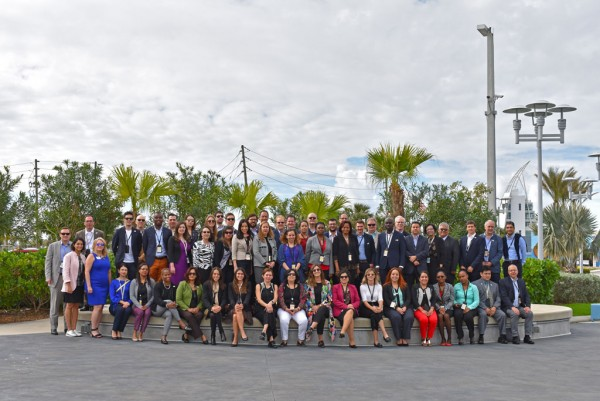 Delegates from the Americas Competitiveness Exchange (ACE) take group photo outside Port Canaveral Cruise Terminal 1